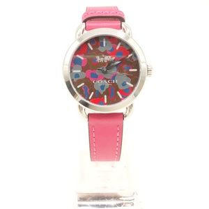 NWT COACH Lex Pink Leather Band Printed Face Watch